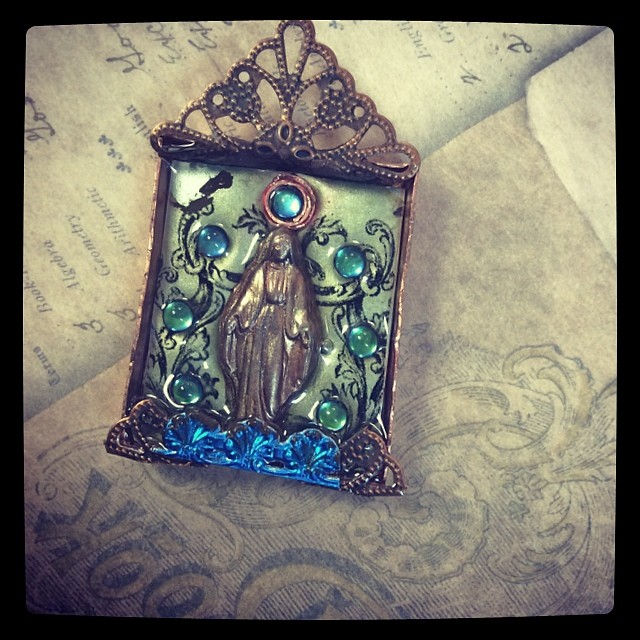 New Class this May at the Bead Biz.  The Memorial Shrine pendant class.  #