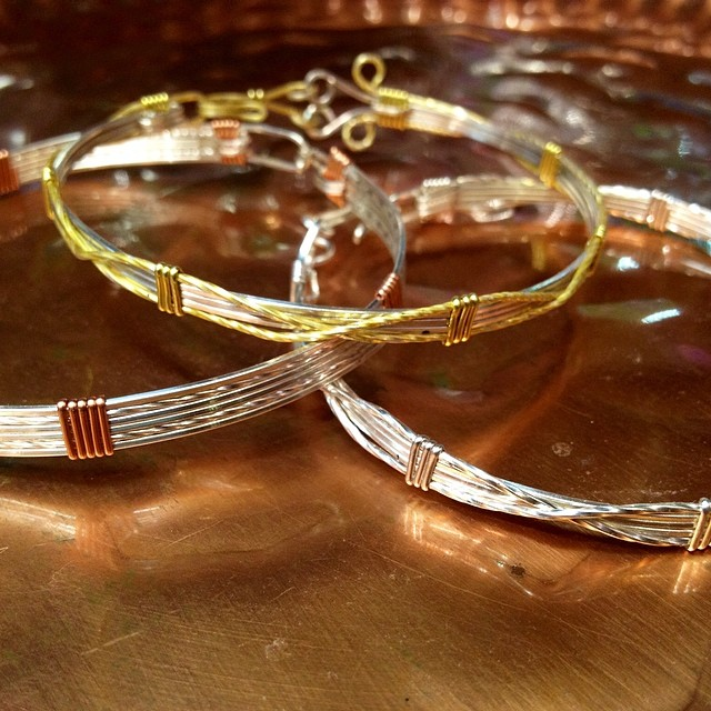 Wire work bangle class this month at the #beadbiz