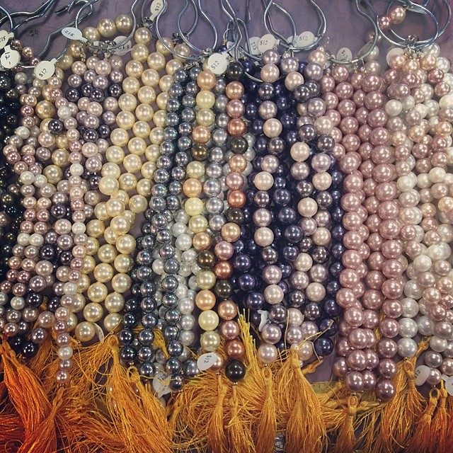 New trunkshow from #cherrytreebeads at The Bead Biz . Big hole shell pearls $12 a strand