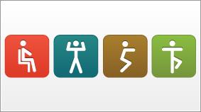 Stick figures exercising