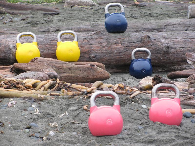 Kettlebells on Beach