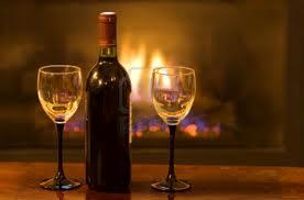 Bottle of Wine by Fireplace