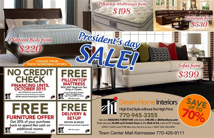 FREE FURNITURE FREE MATTRESS FREE DELIVERY NO CREDIT CHECK THRU PRESIDENTu0027S  DAY!