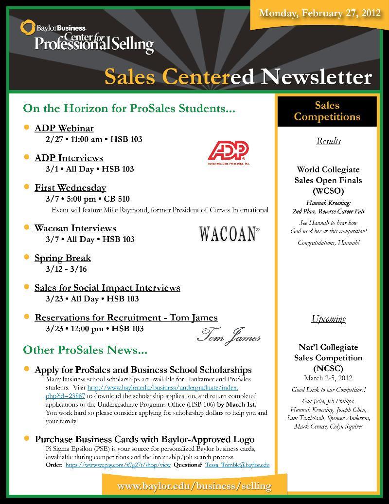 SalesCentered Newsletter (022712)