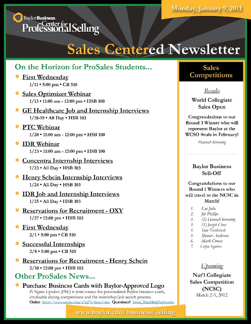 CfPS - SalesCentered Newsletter (01.09.12)