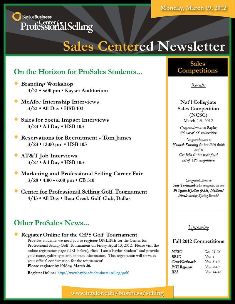 SalesCentered Newsletter - 03.19.12