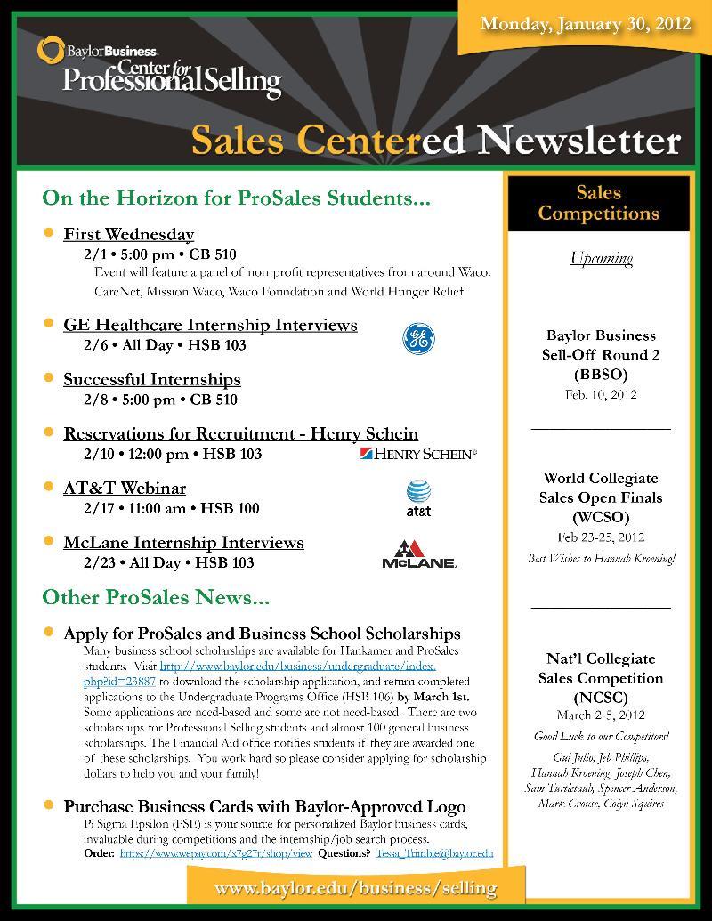 SalesCentered Newsletter - 01.30.12