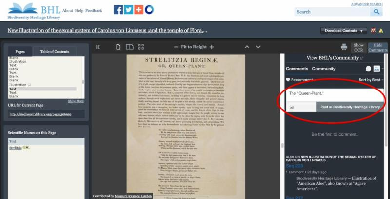 Add Comments to books in BHL.