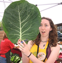 laura with giant collard greens