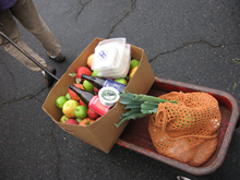 market goodies in a wagon