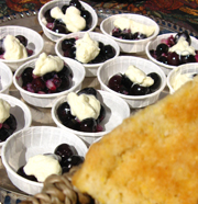 blueberry and corn demo samples with scone in front