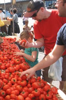 people buying tomatoes at sweet leaf farm