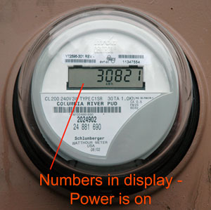 Photo of meter with power.