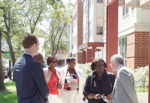 Sandra Henriquez visits Woodlawn Center South
