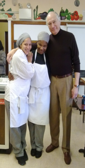 CEO Don Keel with Culinary students Liliam Martinez and Adria Wright