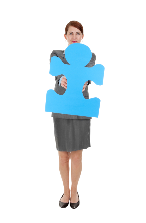 Woman holding blue puzzle