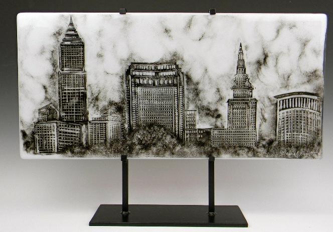 Fused Glass Cityscape