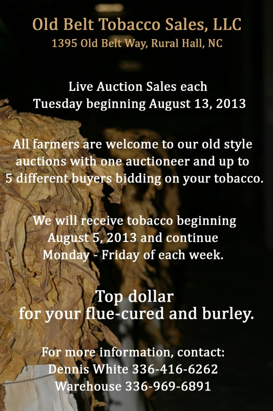 Old Belt Tobacco Sales: Welcome to our old style auction