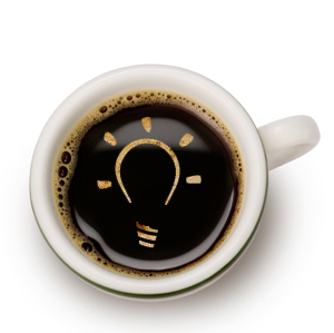 coffee cup with light bulb