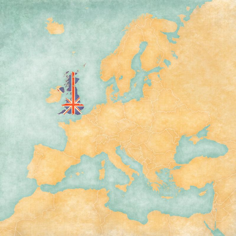 United Kingdom  British flag  on the map of Europe. The Map is in vintage summer style and sunny mood. The map has a soft grunge and vintage atmosphere which acts as watercolor painting on old paper.