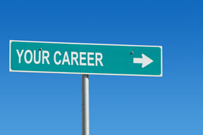 Directional street sign with arrow and Your Career