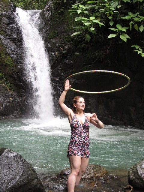 Kat in Front of a Costa Rican Waterfall