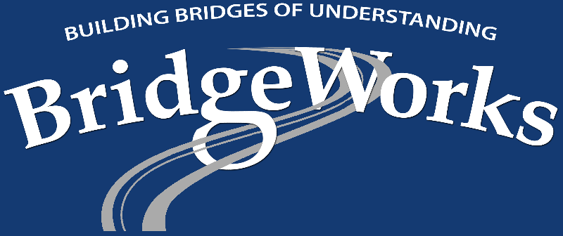 BridgeWorks Logo White on Blue