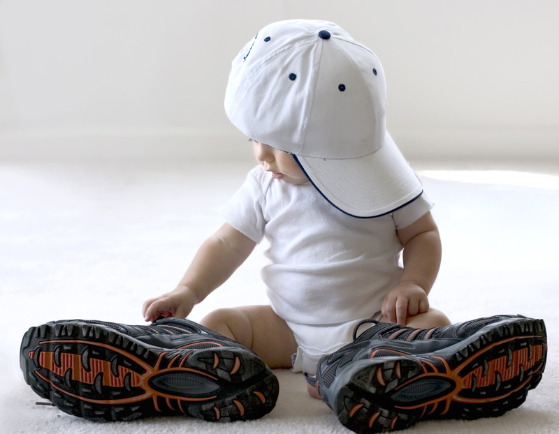 baby with trainers