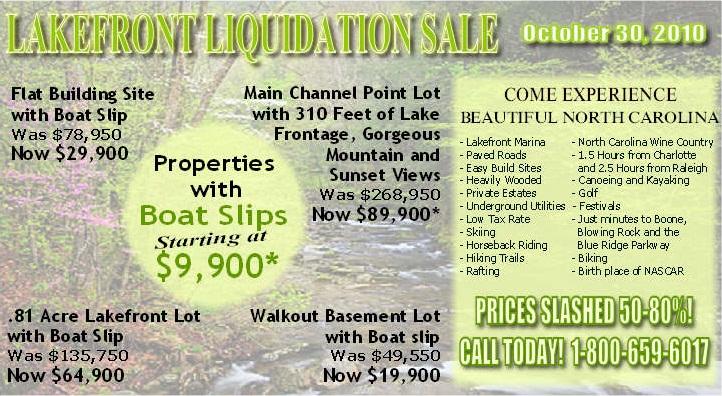 North Carolina Lakefront Liquidation Sale - Starting at $9,900