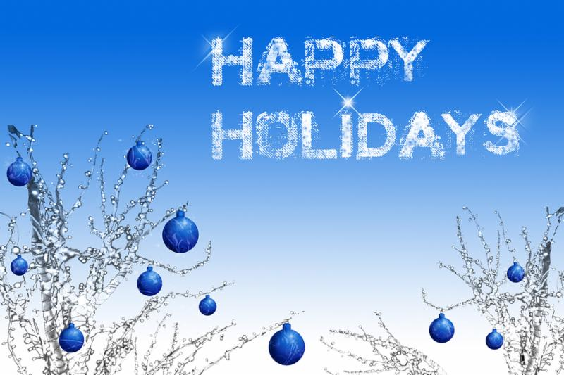 happy holidays back and postcard with lot of copy space for greetings