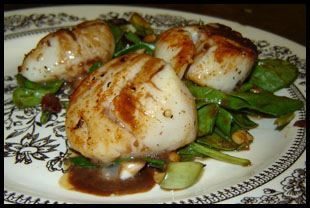 Seared Sea Scallops over Wilted Spinach