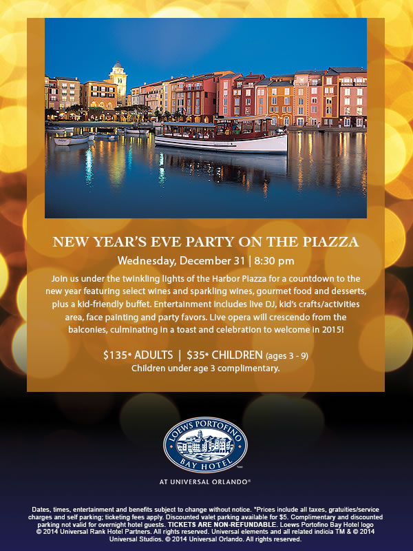 New Year's Eve Party on the Piazza at Loews Portofino Bay Hotel at Universal Orlando