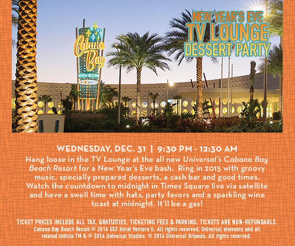 Universal's Cabana Bay Beach Resort's New Year's Eve TV Lounge Dessert Party