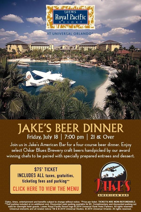Jake's Beer Dinner at Loews Royal Pacific Resort at Universal Orlando