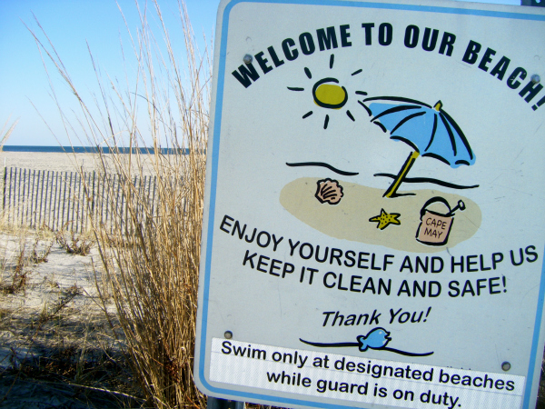 Cape May beach sign