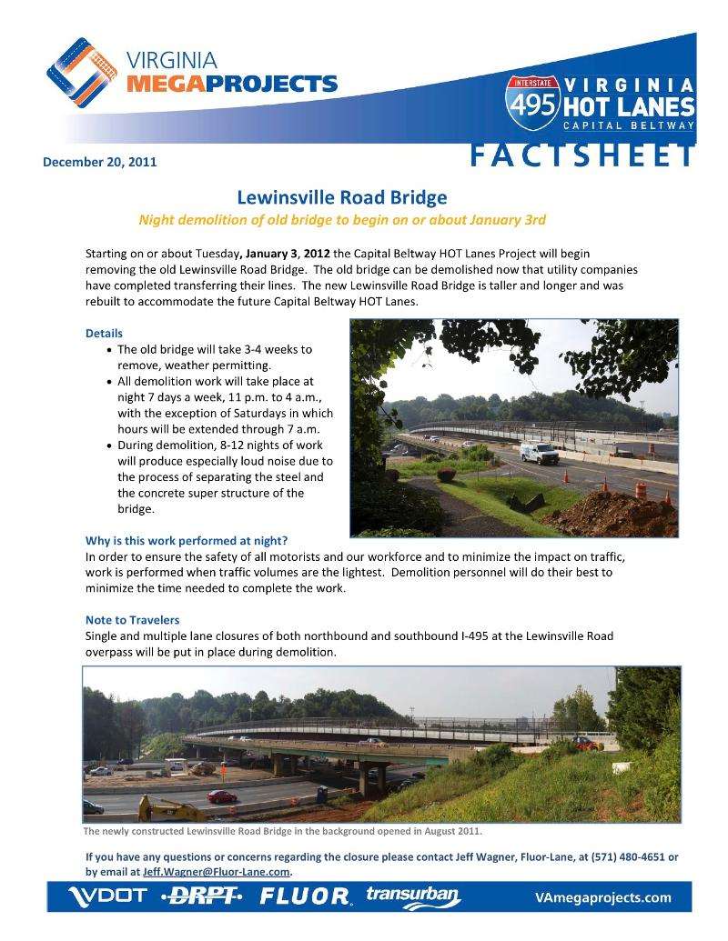Lewinsville Road Bridge Fact Sheet
