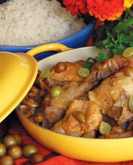 Drunken Chicken with Muscadine Grapes