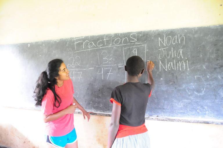 Nalini teaches math to P6 students.