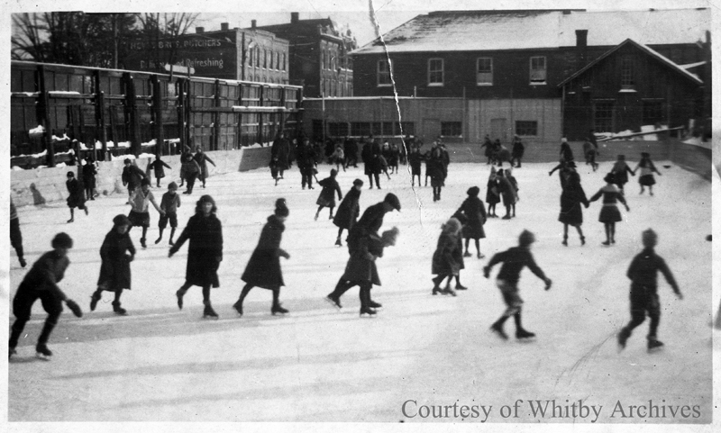 Outdoor Skating Rink on Brock Street North, c.1923-1925.