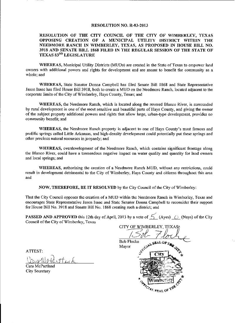 City of Wimberley Mud Resolution