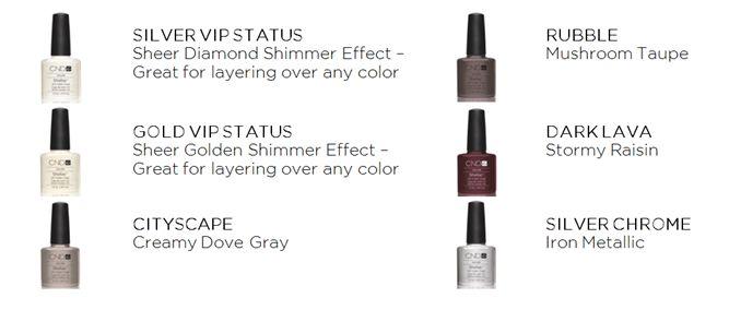 CND Shellac - 6 shades, March 2012
