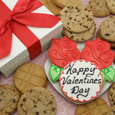 Valentines Red Roses Cookie Gift Box