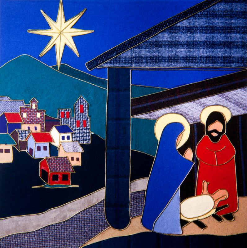 Christmas Nativity Scene made with textile fragments