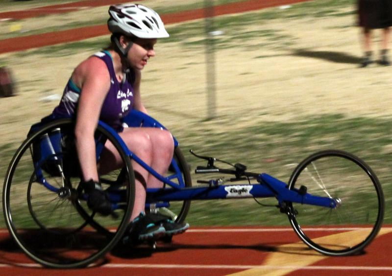DRTx client Emilee Hilbish competes in first track meet
