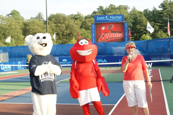 Joan with mascots