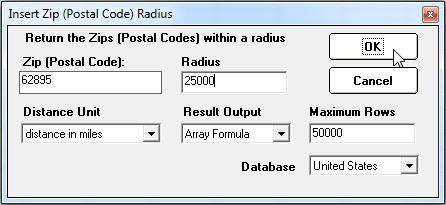 database - Calculate distance between Zip Codes... AND ...
