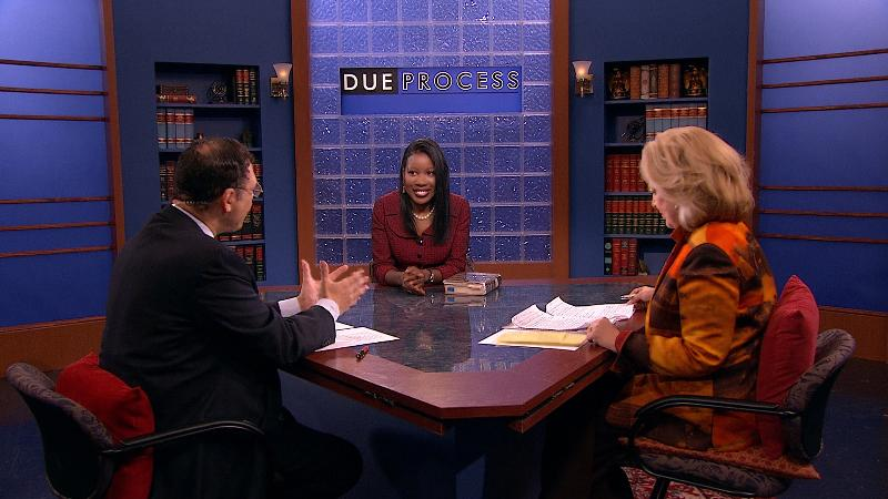 Isabel Wilkerson on set with Sandy King and Raymond Brown