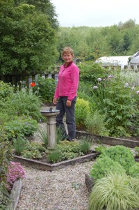Deb in the beautiful display garden