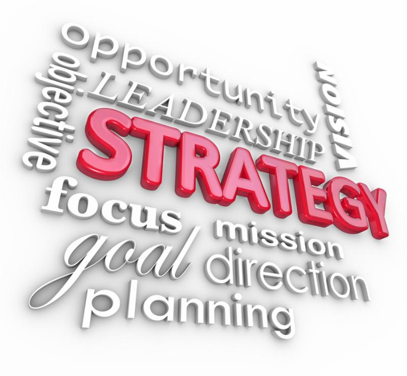 The word Strategy and related terms in a 3d collage background, including planning, objective,...