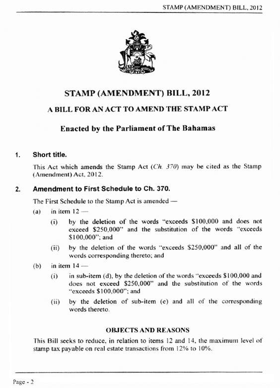 Stamp Tax Amendment
